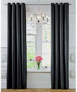 Unbranded glamour damask pair of black curtains 66 x 72